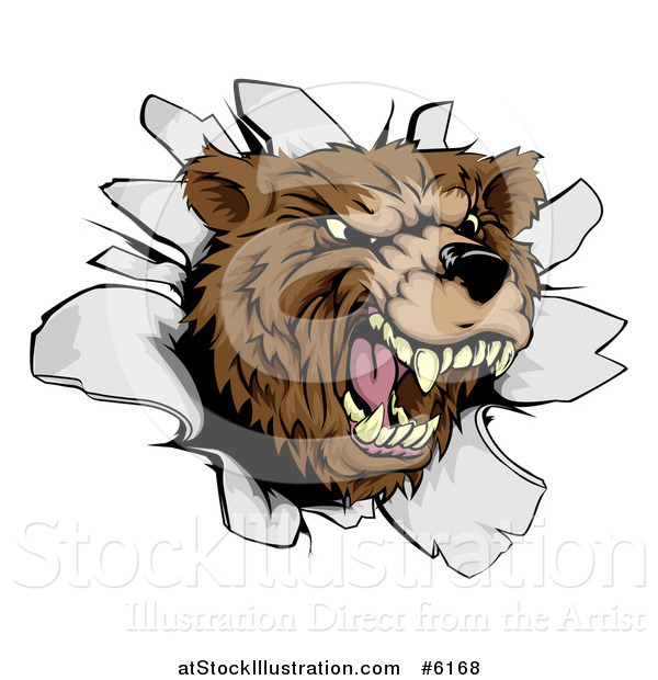 Vector Illustration of a Vicious Aggressive Roaring Bear Mascot Breaking Through a Wall