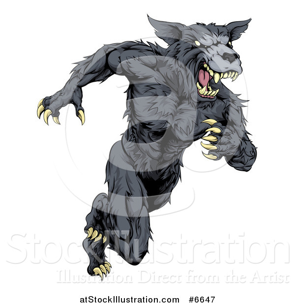 Vector Illustration of a Vicious Black Muscular Wolf Man Sprinting