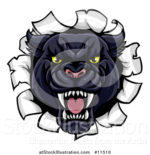 Vector Illustration of a Vicious Black Panther Breaking Through a Wall