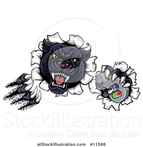 Vector Illustration of a Vicious Black Panther Shredding Through a Wall with a Video Game Controller in One Paw