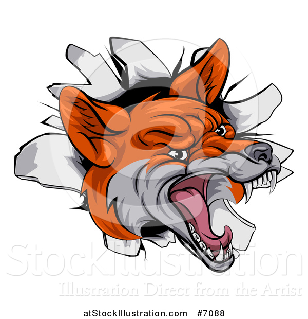 Vector Illustration of a Vicious Fox Breaking Through a Wall