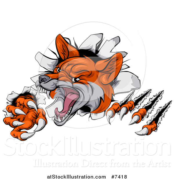Vector Illustration of a Vicious Fox Slashing Through a Wall