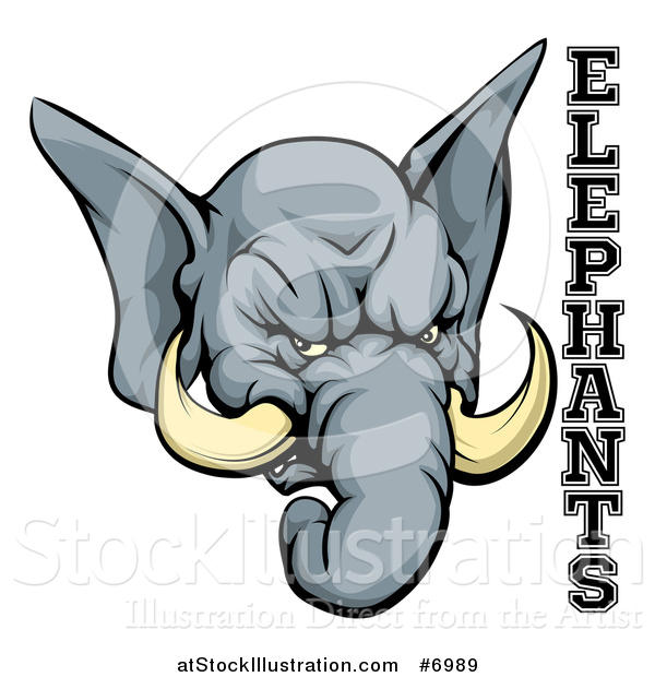 Vector Illustration of a Vicious Gray Elephant Mascot Head and Text