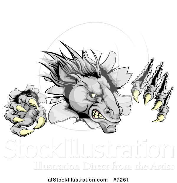 Vector Illustration of a Vicious Gray Horse Stallion Monster Breaking Through a Wall with Claws