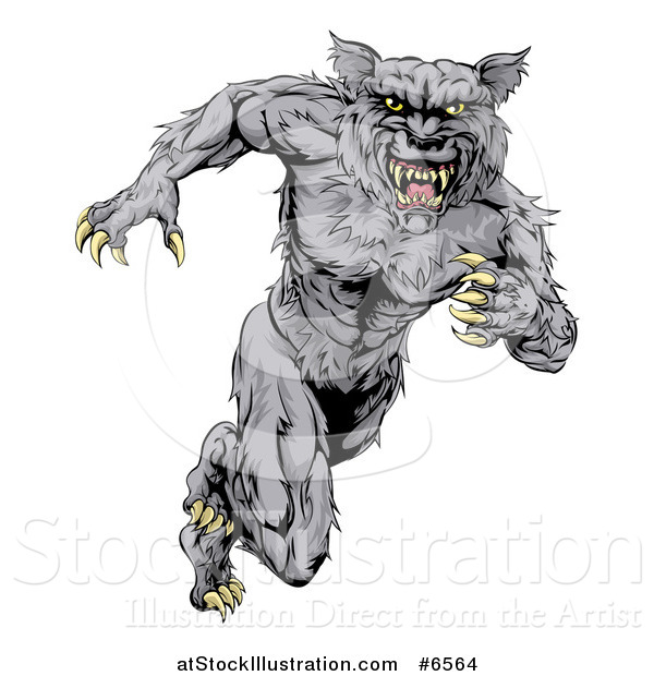 Vector Illustration of a Vicious Gray Muscular Wolf Man Sprinting