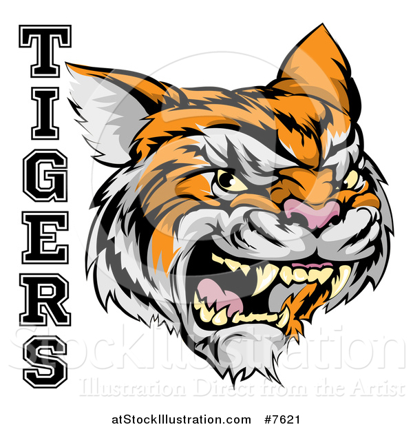 Vector Illustration of a Vicious Growling Tiger Mascot Face and Text