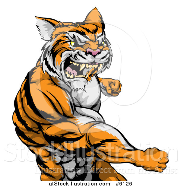 Vector Illustration of a Vicious Mad Muscular Tiger Man Punching