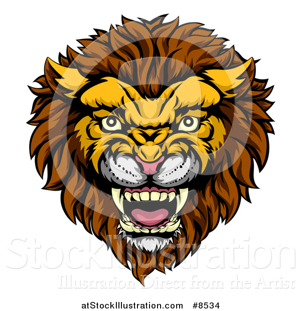 Vector Illustration of a Vicious Male Lion Mascot Head