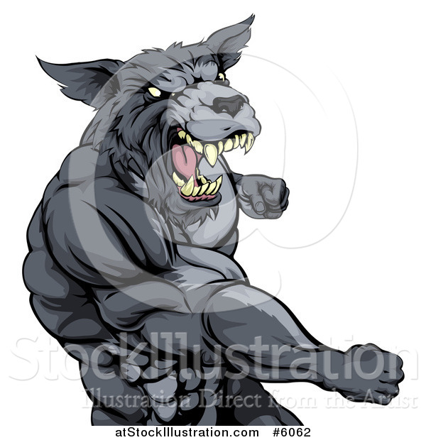 Vector Illustration of a Vicious Muscular Wolf Man Punching