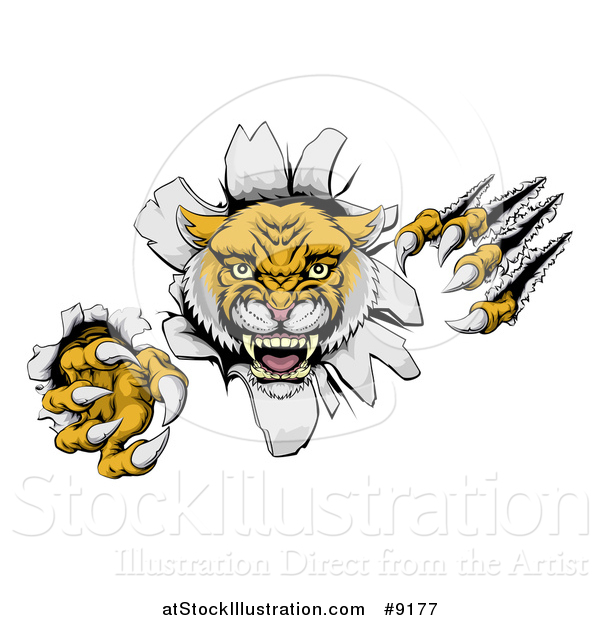 Vector Illustration of a Vicious Roaring Wild Cat Slashing Through a Wall