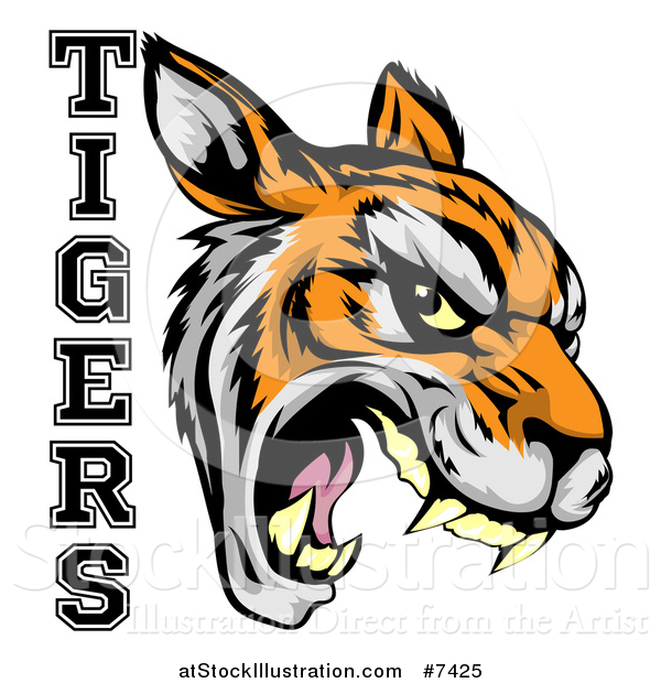 Vector Illustration of a Vicious Snarling Tiger Mascot Face and Text