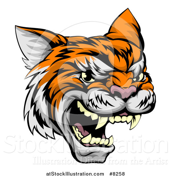 Vector Illustration of a Vicious Tiger Mascot Face
