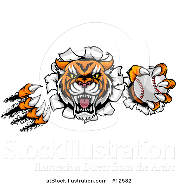 Vector Illustration of a Vicious Tiger Mascot Slashing Through a Wall with a Baseball