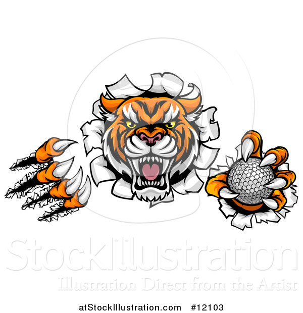 Vector Illustration of a Vicious Tiger Mascot Slashing Through a Wall with a Golf Ball