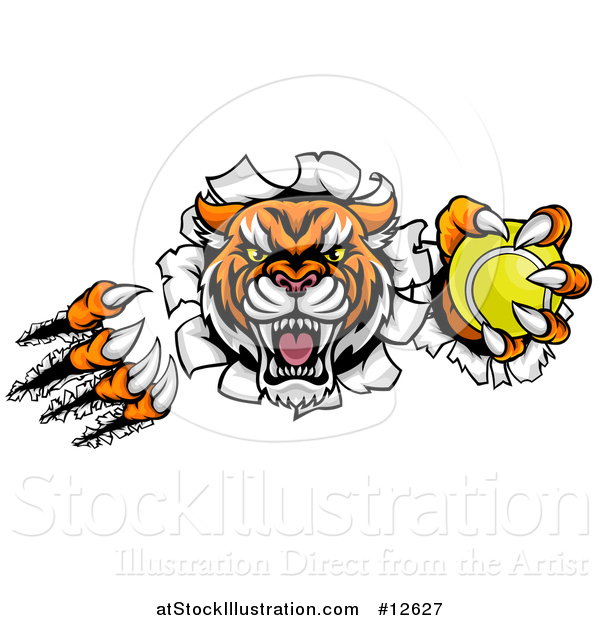 Vector Illustration of a Vicious Tiger Mascot Slashing Through a Wall with a Tennis Ball