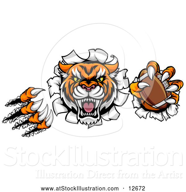 Vector Illustration of a Vicious Tiger Mascot Slashing Through a Wall with an American Football