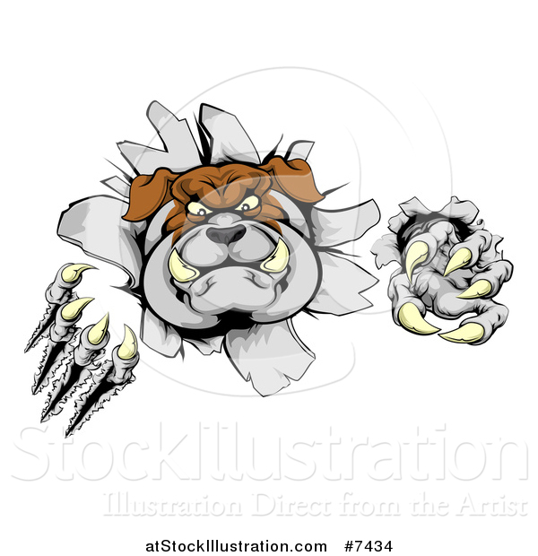 Vector Illustration of a Vicious Tough Bulldog Monster Shredding Through a Wall 2