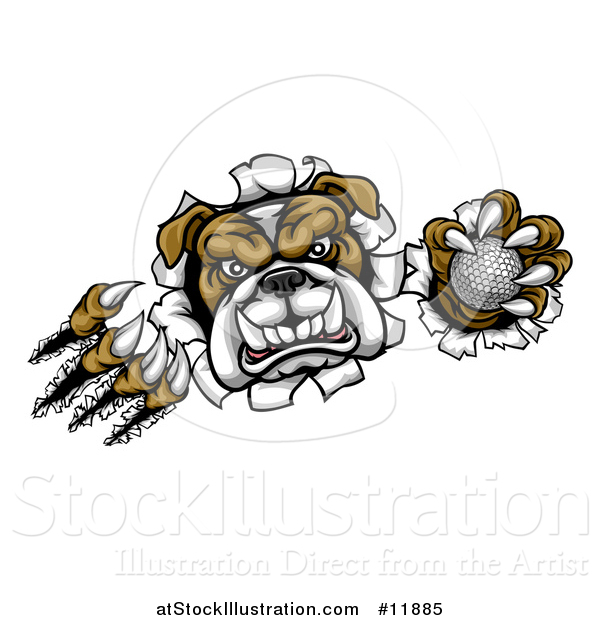Vector Illustration of a Vicious Tough Bulldog Monster Shredding Through a Wall with a Golf Ball in One Hand