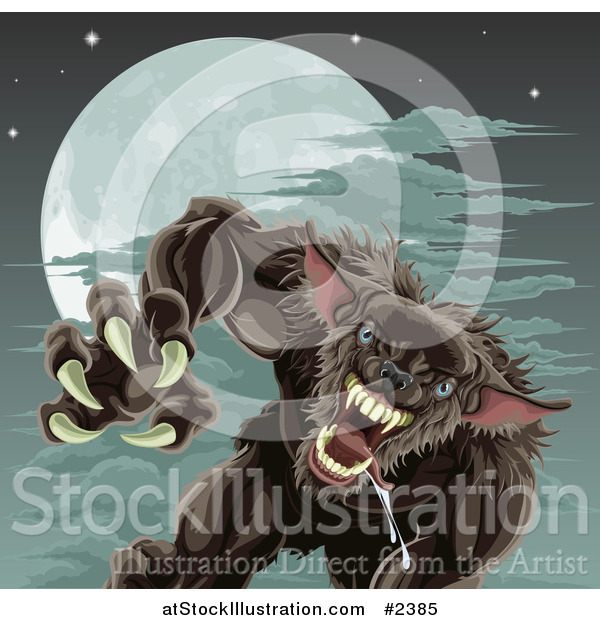 Vector Illustration of a Vicious Werewolf Attacking Under a Full Moon