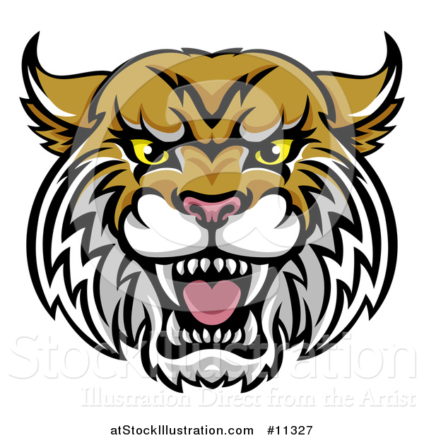 Vector Illustration of a Vicious Wildcat Mascot Head
