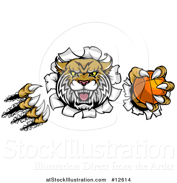 Vector Illustration of a Vicious Wildcat Mascot Shredding Through a Wall with a Basketball
