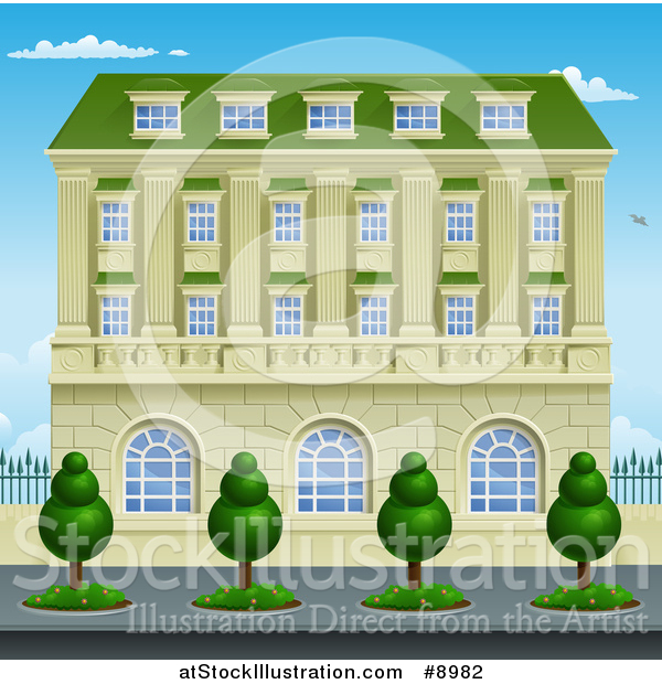 Vector Illustration of a Victorian or Georgian Building or Mansion