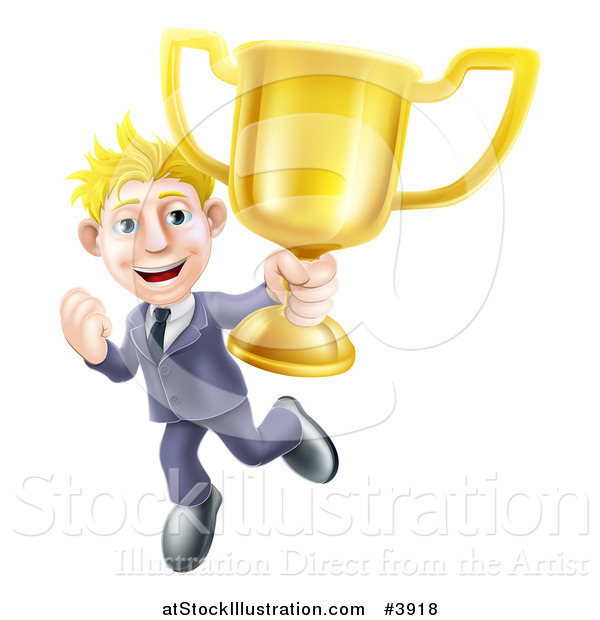 Vector Illustration of a Victorious Blond Businessman Holding a Trophy Cup