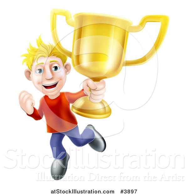 Vector Illustration of a Victorious Blond Man Holding a Gold Trophy Cup