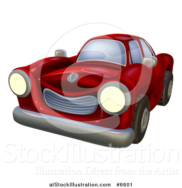 Vector Illustration of a Vintage Cartoon Red Car