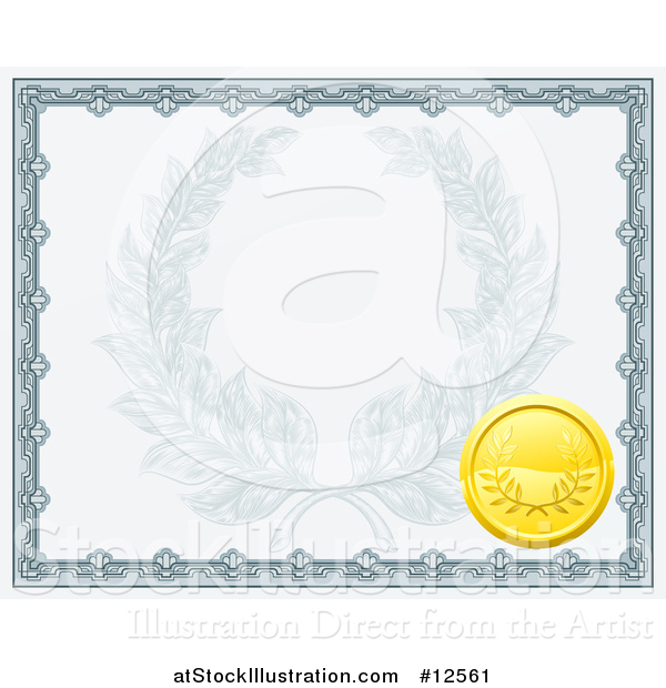Vector Illustration of a Vintage Certificate Design with a Gold Badge and Laurel Wreath Faded in the Center