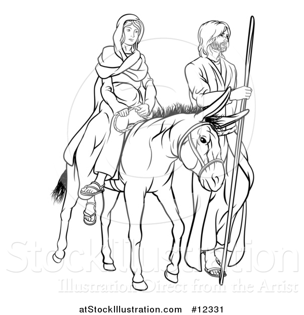 Vector Illustration of a Virgin Mary on a Donkey and Joseph, Black and White