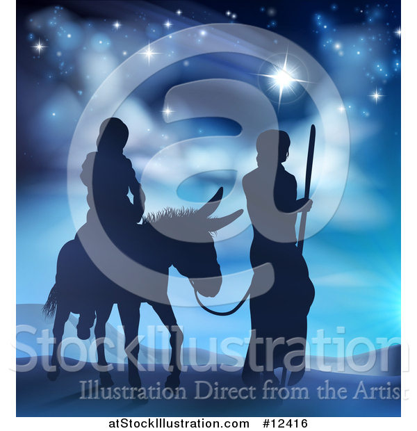 Vector Illustration of a Virgin Mary on a Donkey and Joseph Silhouetted Under the Star of David