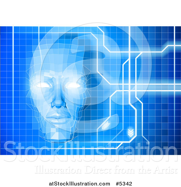 Vector Illustration of a Virtual Face Emerging from a Blue Grid