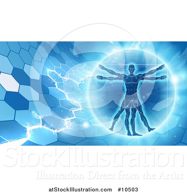 Vector Illustration of a Vitruvian over an Electric Blue Hexagon Background