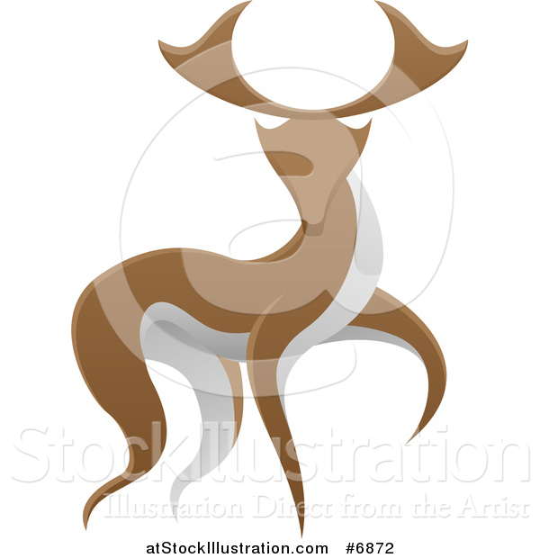 Vector Illustration of a Walking Brown and White Stag Deer Buck