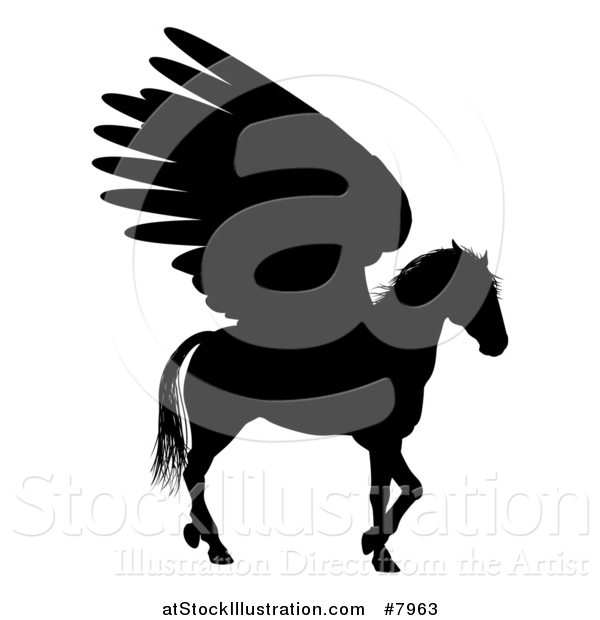 Vector Illustration of a Walking Winged Pegasus Horse