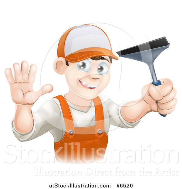Vector Illustration of a Waving Brunette Caucasian Window Cleaner Man in Orange Overalls, Holding a Squeegee