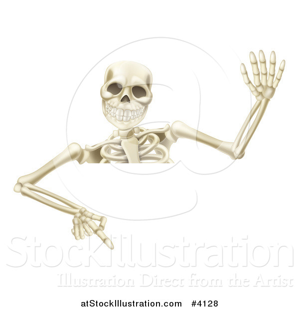Vector Illustration of a Waving Halloween Skeleton Pointing down at a Sign