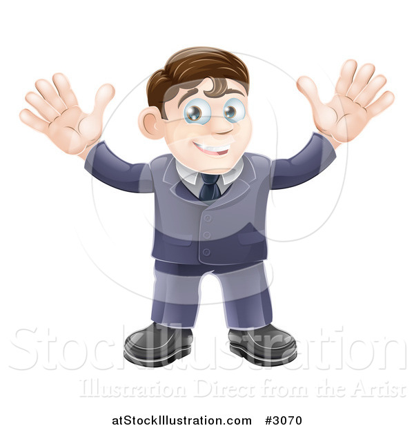 Vector Illustration of a Welcoming Businessman Waving with Both Hands