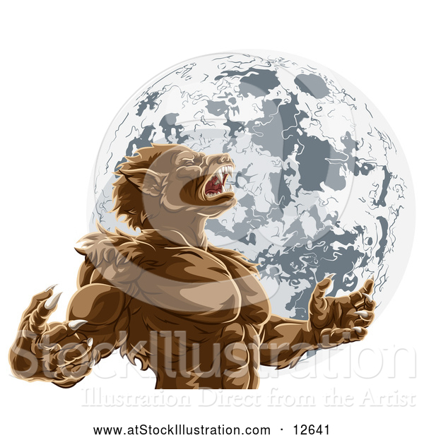 Vector Illustration of a Werewolf Man Howling Against Full Moon