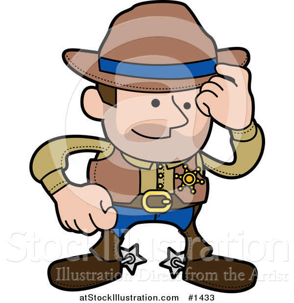 Vector Illustration of a Western Cowboy Sheriff Man in Chaps and Spurs, Tipping His Hat
