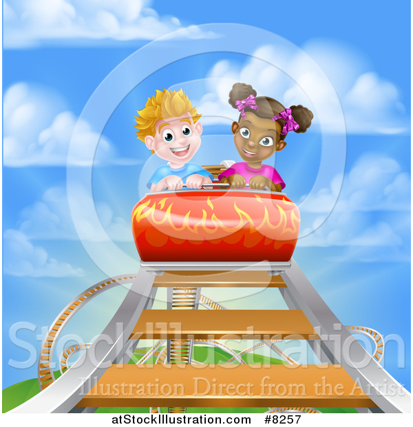 Vector Illustration of a White Boy and Black Girl on a Roller Coaster Ride, Against a Blue Sky with Clouds