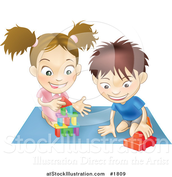 Vector Illustration of a White Boy and Girl Playing with Toys on a Floor Together