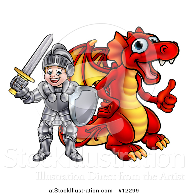 Vector Illustration of a White Boy Knight by a Red Dragon