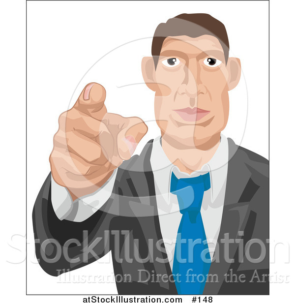 Vector Illustration of a White Businessman Pointing Outwards, Looking for Employees