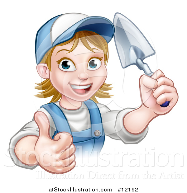 Vector Illustration of a White Female Mason Worker Holding a Trowel and Giving a Thumb up