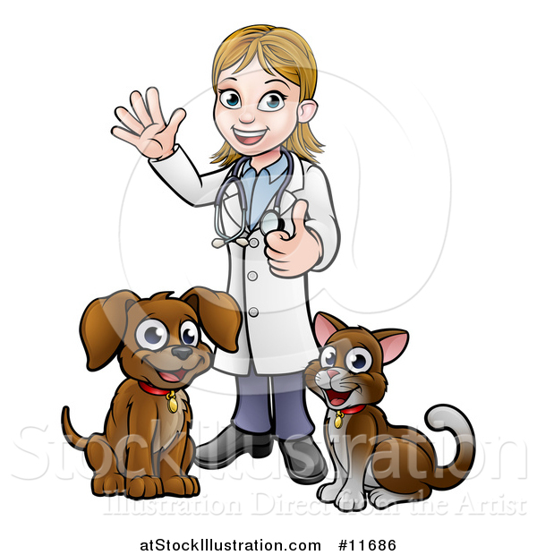 Vector Illustration of a White Female Veterinarian Waving and Giving a Thumb up over a Cat and Dog