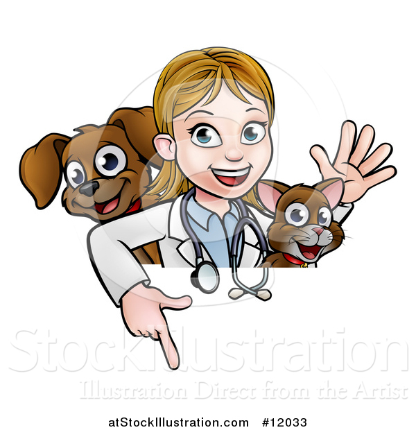 Vector Illustration of a White Female Veterinarian Waving with a Cat and Dog over a Sign