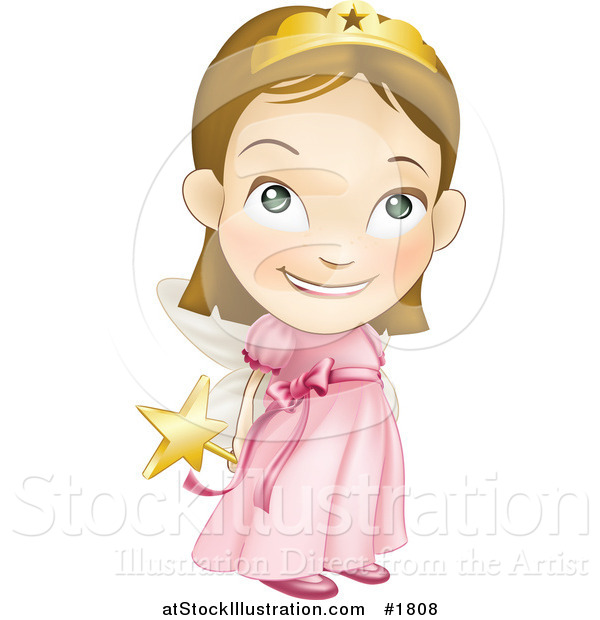 Vector Illustration of a White Girl in a Pink Fairy Princess Costume, Holding Her Wand Behind Her Back
