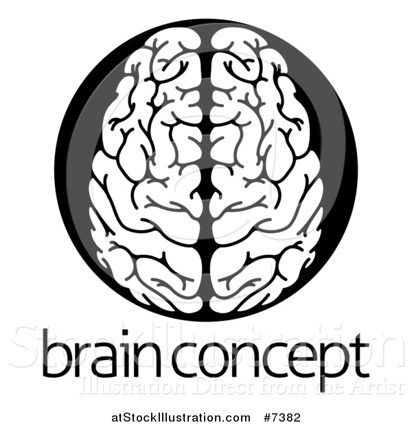 Vector Illustration of a White Human Brain in a Black Circle over Sample Text